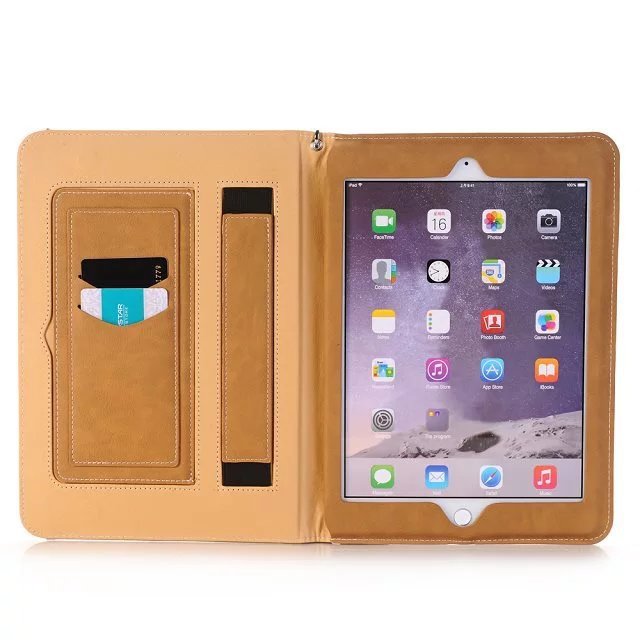 "Tablet Covers Cases for <strong>Ipad</strong> Pro 9.7"" Genuine Leather Card Holder Hand Support Smart Sleep Computer Holster Case for <strong>Ipad</strong>"