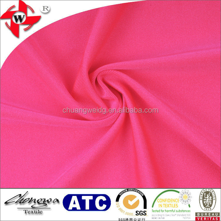 Chuangwei Textile shiny 4 way stretch polyester lycra fabric for sportswear