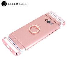 Hard plastic 3pieces with finger ring holder stand back slim phone cases for samsung s8 case hybrid