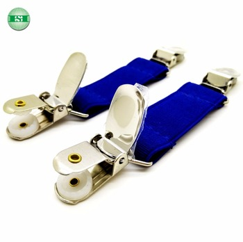 Blue short suspender elastic strap with stainless steel suspender clips
