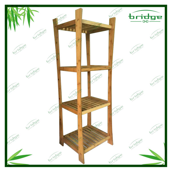 decorative wooden bambo storage rack with X frame
