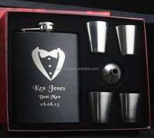8oz thermos hip flask gift set ,welding hip flask with black coating , laser logo