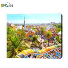 National characteristics barcelona modern scenery art canvas paintings buildings famous artists