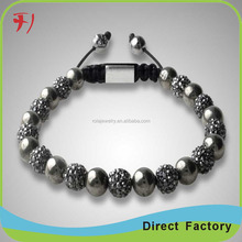 wholesale natural stone 8mm howlite and metal crystal pave ball shamballa bracelet