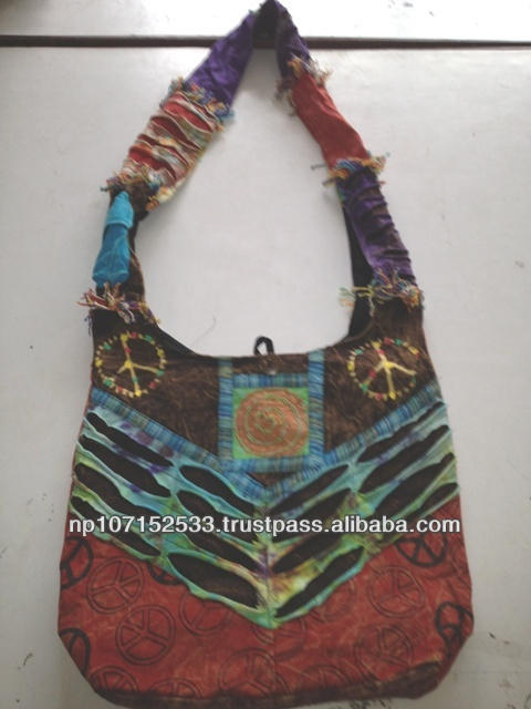 SHB80 cotton bag with peace print and fringe look price 250rs $2.94
