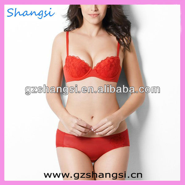 Hot red lace womens sexy bra & panty