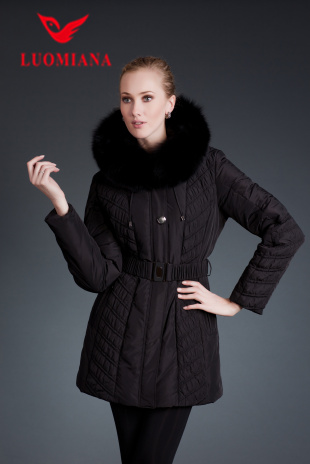 New Classic Manufacture Wholesale Down Coat For Women matt Black Quilted Belted With Fur Collar In Cold Winter Clothes