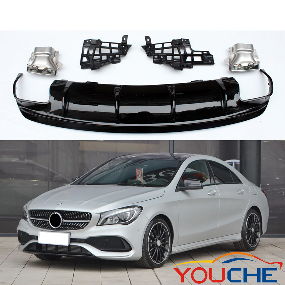 ABS diffuser &amp; stainless steel rear bumper diffuser for Mercedes CLA class <strong>W117</strong> sport edition 2017-2018
