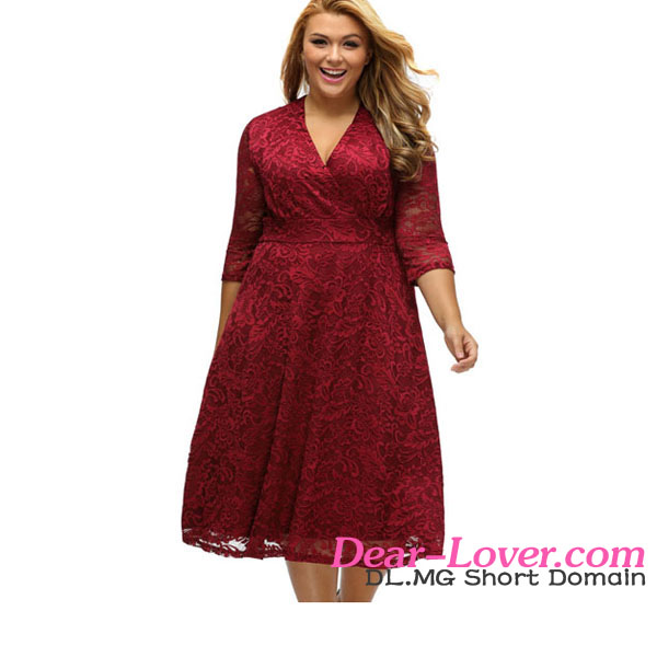 Plus Size Sexy Dresses 2017 Trendy Big Girls Burgundy Surplice Lace Formal Skater Dress