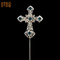 Blue Zircon Cross Rhinestone Crystal Cake Topper for Christening Cake decoration
