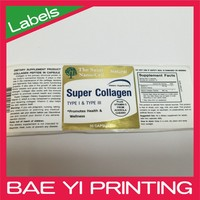Print labels roll sticker of health care product sticker with CMYK print and foil stamping