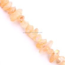 Wholesale Semi Precious Stone Dyed Champagne Color Crystal Centre-drilled Nuggets