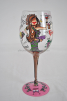 new 2016 shanxi long thick stem hand painted gift wine glass