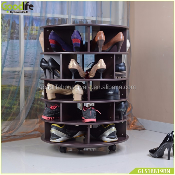 Entryway furniture rotating shoe rack shoes organizer wholesale in brown