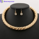 Simple Style 18K Gold Plated Coarse Chain Chunky Necklace Jewelry Sets Women