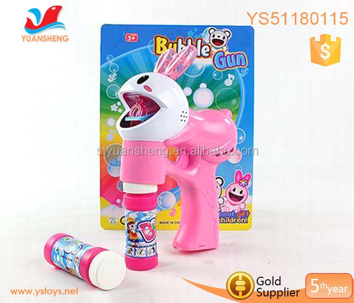 Cartoon rabbit soap bubble gun LED flashing light bubble shooter gun toy
