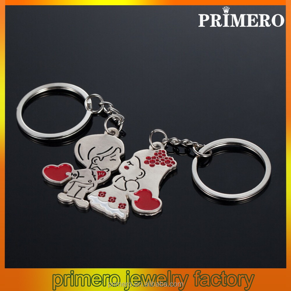 PRIMERO fashion gold plating wholesale jewelry love couple keychain pendant boy and girl kissing magnetic couple key chain