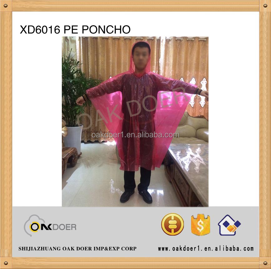 100% PE disposable rain poncho
