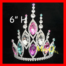 Beauty Colored Crystal Gossip Girls Jewelry Tiara, Large India Wedding Tiara