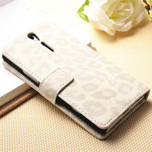 2013 Noble design fashion leopard leather wallet case for sony xperia s lt26i