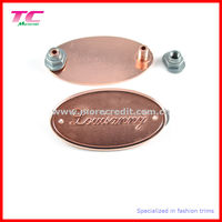 luggage metal plaque in rose gold