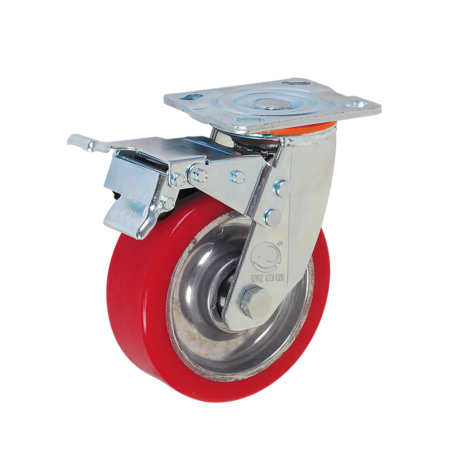 "Double Brake 4"" Heavy Duty Aluminum Core Industrial PU Castor <strong>Wheels</strong>"