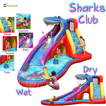 Happy Hop Water Slide 9417--inflatable combo bouncer wet dry water park slide with cannon