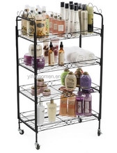 "24.25""w Metal Shelving Display w/ Locking Wheels & 4 Open Space Shelves - Black"