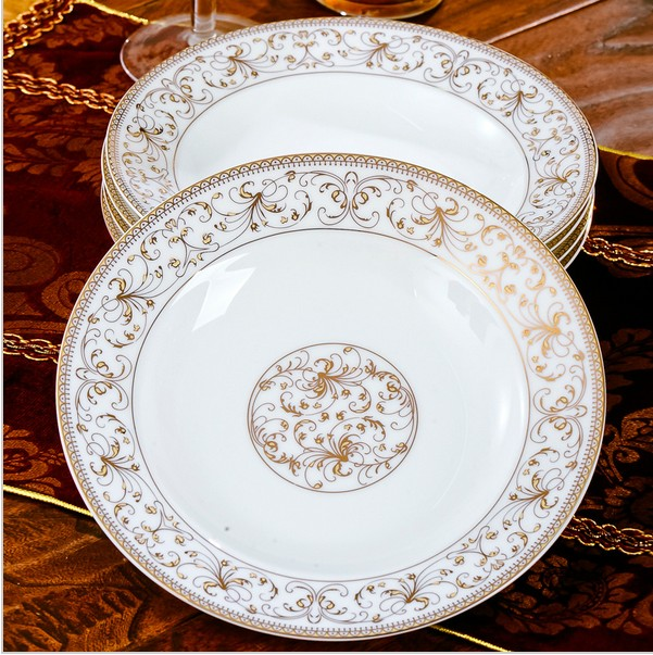 New bone china white porcelain tableware, round deep dinner plate, soup dish