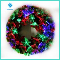 2016 new artificial PVC 3 color fiber optic christmas wreath for christmas decoration