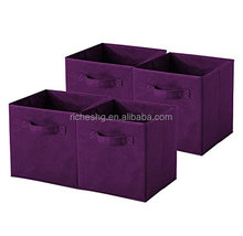 purple finish durable 4 pack fabric woven cute storage boxes for living room