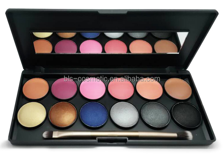 New Arrival OEM 12 Colors Shinny Eyeshadow and Blush Palette with Brush