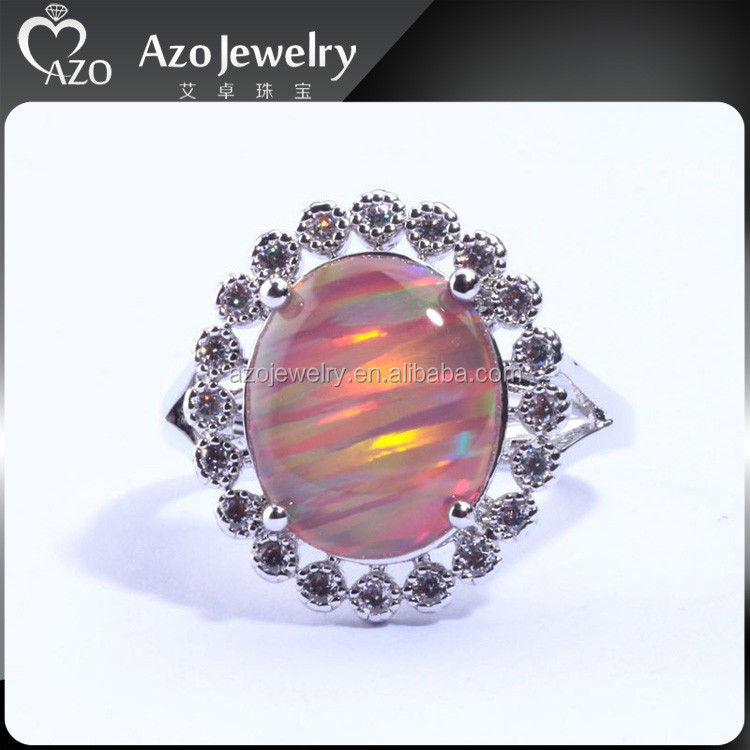 Luxury Wholesalel Women Jewelry Orange Fire Opal & Cubic Zirconia Silver Ring