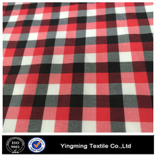 PET red black white plaid fabric for shirt
