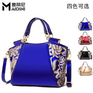 Shiny PU ladies leather bags handbag handbags Heavy Technique sequin Patent  leather PU Women tote bag 68c89948f137