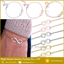 2017 Cheap Style Charm Bracelet Manufacturer Fancy Gold Hand Chain Infinity Bracelet Design For Girls Women