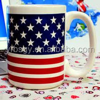 Eco-friendly 16oz stars and stripes national flag printed ceramic mug China supplier