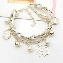 woven diy fashion leather rosary bracelet L0728A