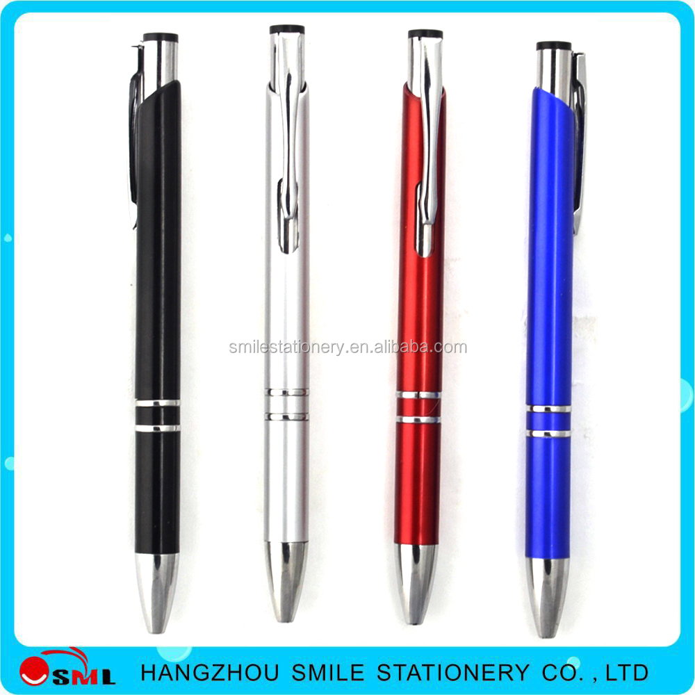 custom color half metal pen two rings shine metal pen with logo