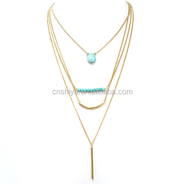 XL-NK02 mutilayers gold chain design necklace, turquoise bead necklace,woman statement necklace