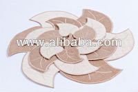Jute with leaves design Doily