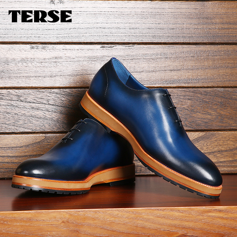 TERSE custom designer genuine leather shoes handmade Italian leather mens Oxford shoes 2 color in stock drop shipping