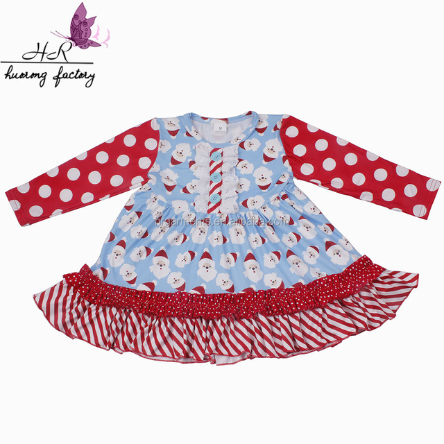 Wholesale Cotton milk silk wholesale christmas santas print pattern kids clothes wearing boutique dresses