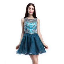 Professional Design Heavy Beaded Glittering Made To Order Turquoise Blue Bridesmaid Dresses