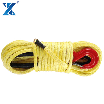 SUV ATV car 12000lbs electric winch color 12 strand braid strong synthetic tow rope with lug and thimble hook