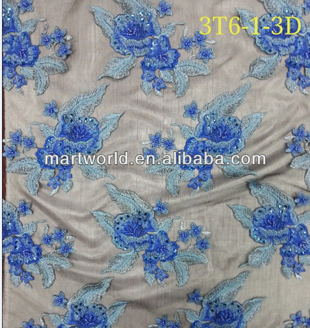 latest embroidery designs blue flower lace fabric(3T6-1-3D)