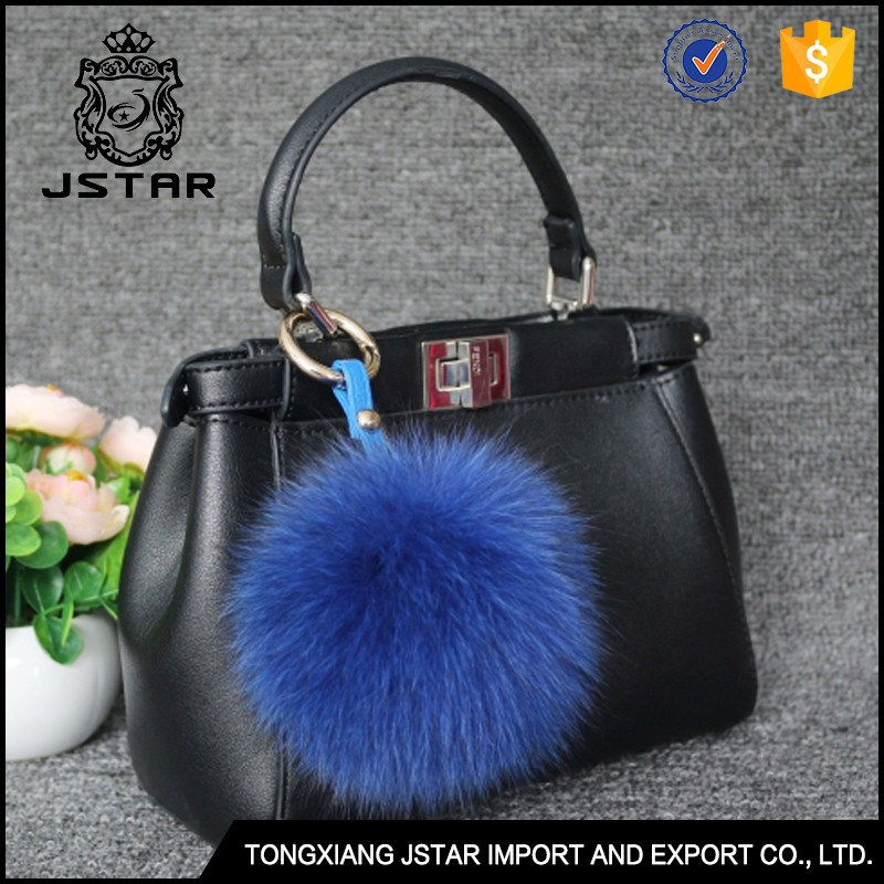 Customized Stylish Colorful Fox Fur Fuzz Ball Keychain