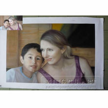 Handmade customized mum and son potrait family oil painting