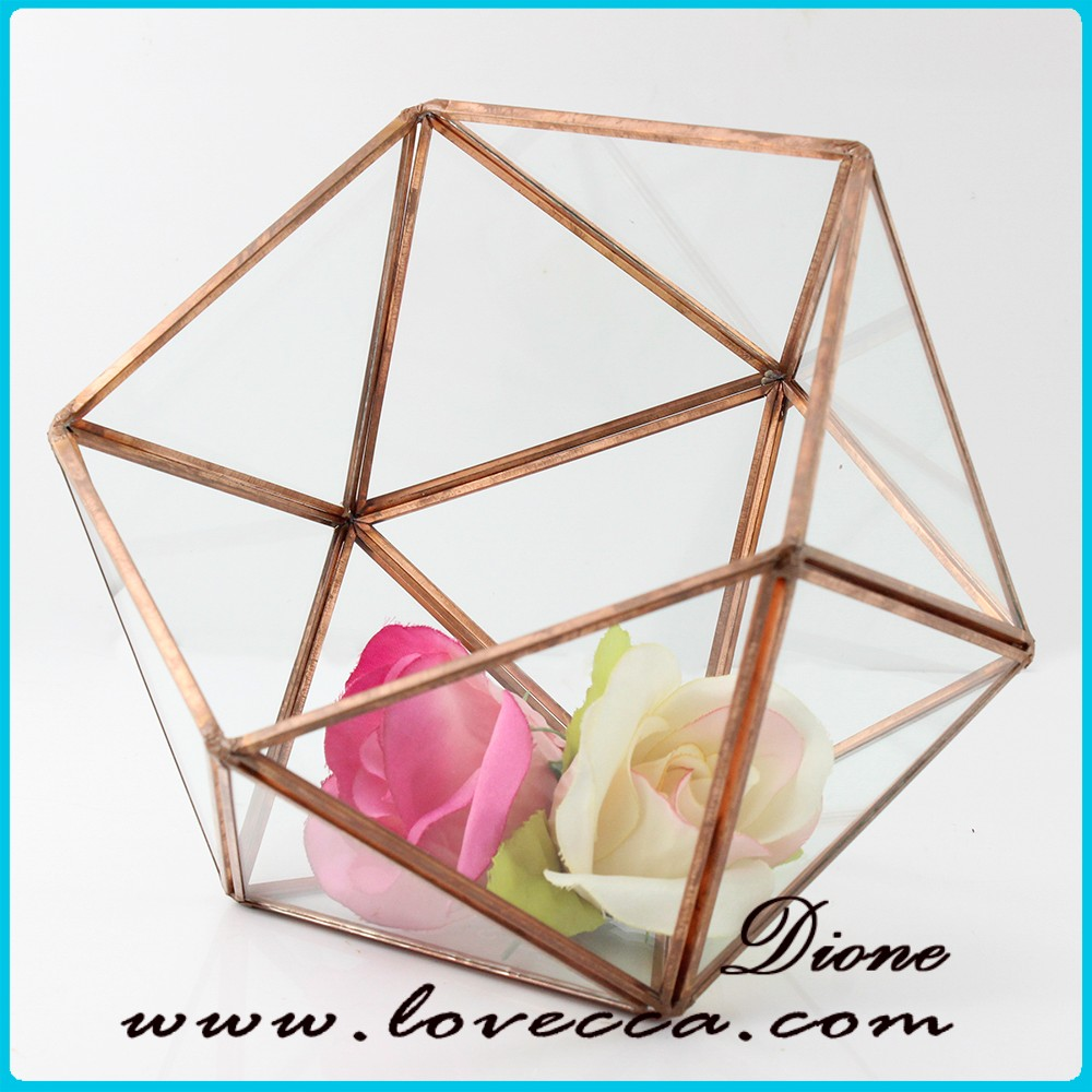 Beautiful Hanging Indoor Plant Geometric Glass Terrarium in Rose Gold