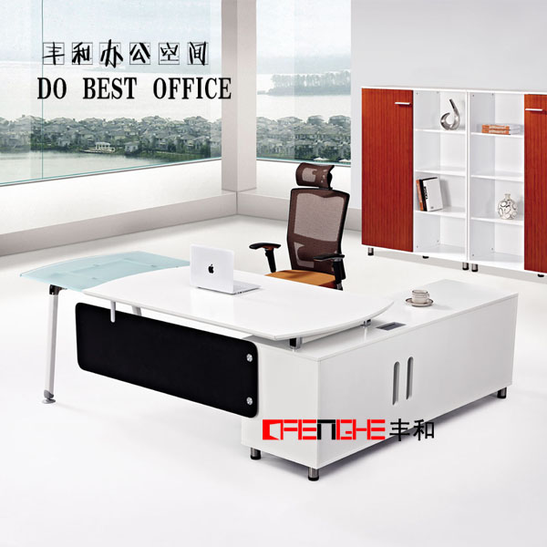 White Curved Office Desk Design Furniture LH-004